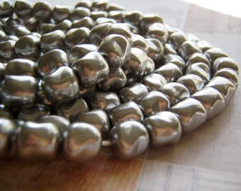 Pearl Beads Square Silver Smooth Czech Glass Nugget 9 mm 10 Beads