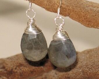 Sterling Wire-Wrapped Labradorite Earrings
