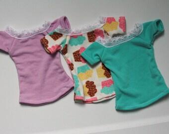 56-62cm BJD Pastel Off-Shoulder Lace Trim T-Shirt