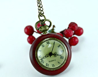 Double Sided Glass Cherry Bubble Pocket Watch with 28 Inch Curb Chain
