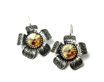 Golden Flower Dangle Earrings Classic Metallic Gold Shadow Yellow Daisy Antiqued Silver Formed leverback Floral Spring Summer Large Drops