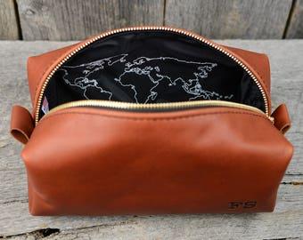 Graduation Gift World Traveler Whiskey Leather Toiletry Bag Travel Dopp Kit with Free Monogram Gift for Guy Son Grandson Nephew Grad Map