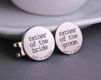 Personalized Father of the Bride gift, Father of the Groom gift, Golf Ball Marker Set, Custom Gift for Father of the Bride,