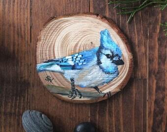 Blue Jay No 1 - Original Acrylic Art - Painted on Wood Slice