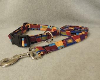 "Large Dog Collar 16-20""  or 4 Foot Leash 1"" Wide Geometric"