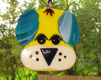 Fused Glass Puppy Suncatcher,  Yellow and Blue Fused Glass Dog, Dog Lover Suncatcher, Yellow and Blue Puppy Suncatcher