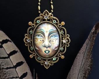 Pearl of Wisdom - Swarovski Crystal Cabochon Necklace by Ishka Lha