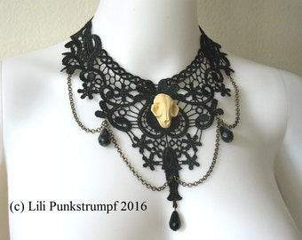 Choker necklace black lace Skull cat Goth Steampunk Neo victorian taxidermy brass