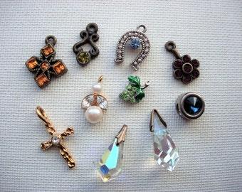 Beautiful Lot of Various Vintage Rhinestone-Crystal Pendants-Charms