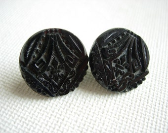 Lovely Pair of Antique/Vintage Fancy Black Glass Buttons