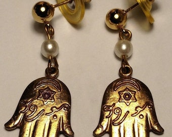 Long Vintage Hand Hamsa Protection Symbol Earrings With Star of David Gold Tone Pierced Posts
