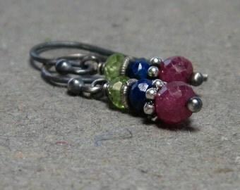 Ruby Earrings Lapis, Peridot Oxidized Sterling Silver Petite July, August Birthstone Earrings