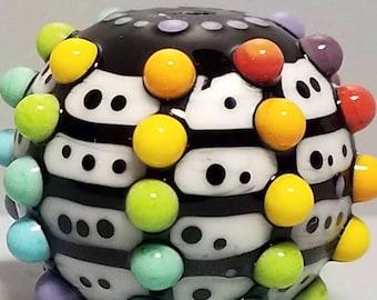 Rainbow Pop Dot Grid Ball--Handmade Lampwork Bead