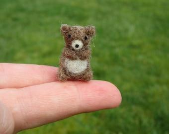 Felted Miniature Brown Bear Tiny Figure Needle Felted