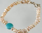 FINAL SALE - Keshi Pearl & Turquoise Bracelet
