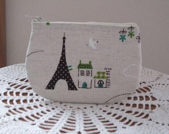 Vintage Japanese Linen Eiffel Tower Coin Business Card Clutch Zipper Small Essential Oils Case Gift Card Holder in  Made in the USA