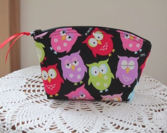 Essential Oils case Clutch Cosmetic Bag  Purse  Gift Sleepy Owls Bridesmaid Gift