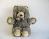 Vintage Gray Teddy Bear Stuffed Animal America Wego 1980s Toys Grey Ribbon Classic Teddy Bear Small Bear Plush
