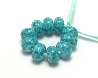Aqua and Light Blue - Handmade Lampwork Glass Beads SRA