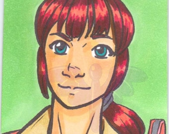 Erin Gilbert, Ghostbusters, Artist Trading Card, ACEO, art card, Original art, Ink, Marker, OOAK