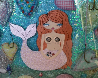 "12x12"" Original Mixed Media Epoxy Resin Art - Mermaid"