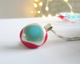 Fused Glass Necklace, Small Pendant Necklace, Glass Pendant