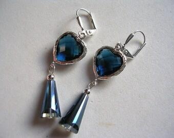 Montana Blue Earrings Teardrop Earrings Dangle Swarovski Crystals Silver Plate Leverback Hooks Montana Hearts and Spheres Gifts under 5