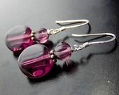 Purple Glass Earrings, Sterling Silver Plum Czech Glass Dangles