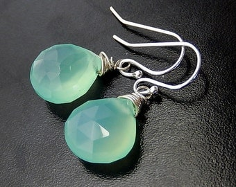 Seafoam Green Earrings, Mint Green Drops, Simple Chalcedony Teardrops, Sterling Silver