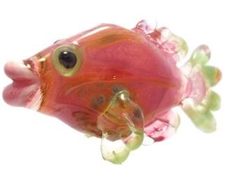 Pink & green Glass bead fish pendant necklace, Lampwork Glass Beads, ocean handmade focal bead, animal bead, jewelry supplies, SRAJD, CGGE