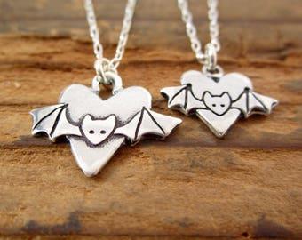 Mother Daughter Bat Necklace Set - Set of Two Sterling Silver Bat Necklaces