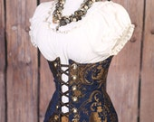 Waist 30-32 Gold and Blue Medallion Torian Corset-New Improved Pattern