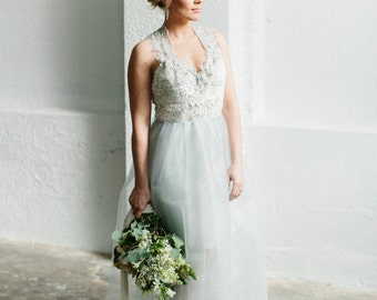 Sample Sale Pale Ice Blue Lace and Tulle  Gown  -Extreme Clearance on an Editorial Sample 80% off