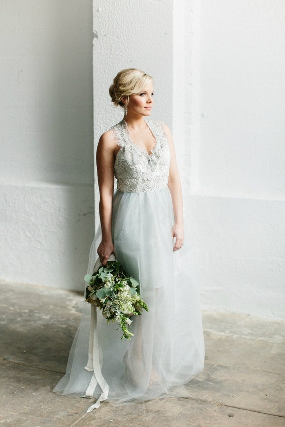 Pale Ice Blue Lace and Tulle Wedding Gown - SAMPLE SALE