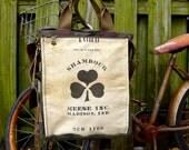 Shamrock NYC Laundry Bag - Americana Vintage Seed Feed Sack Book Tote W- OOAK Canvas & Leather Tote .. Selina Vaughan