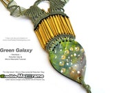 "Macrame patterns, Macrame tutorial, How to Macrame | PDF, 3 Videos | ""Green Galaxy"" necklace 