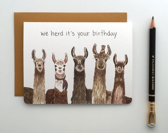 Llama Birthday Card // Cute and Funny Alpaca Inspired Birthday Card