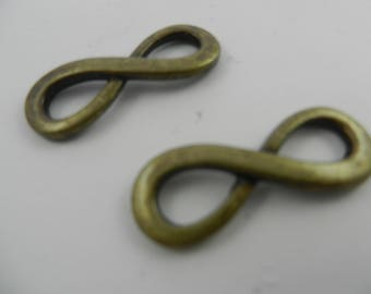 34mmx23mm alloy figure 8 infinity link antique brass 2 pieces 1028m