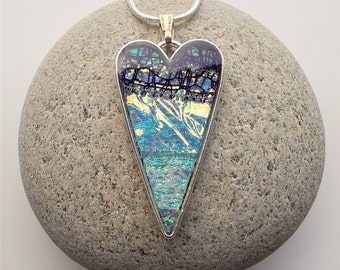 Heart Shaped Pendant Textile and Resin