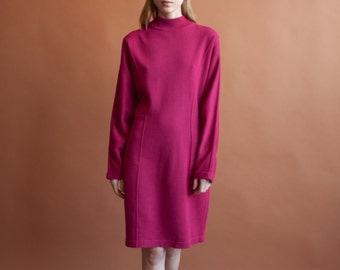 fuschia knit mock neck sweater dress / turtleneck colorblock dress / dolman slv / s / m / 881d / B4