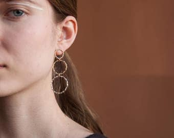 thin multi hoop drop earrings / large hoop earrings / statement earrings / 1482a