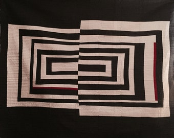 ready to ship -- Ode to Albers  -- strong minimalist quilt -- large throw -- cotton