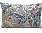 Decorative Lumbar Pillow Cover Fun Color Combo Navy Blue White Coral Yellow Gold Same Fabric Front/Back Toss Throw Accent 12x18 inch  x