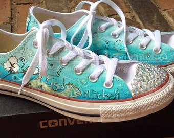 Wedding Converse, Crystallized Kicks, Aqua Ombre Shoes, Custom Hand Painted Converse for Bride, Custom Bridal Shoes, Painted Shoes, Converse
