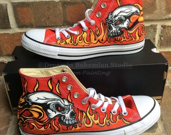 Converse Shoes, Custom Graphic Flames on Red Sneakers, Painted Hot Rod Chuck Taylors, MotorCycle Street Gift for Men, Boyfriend, Teen Boy