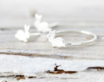 Bunny set - ring and stud earrings in sterling silver
