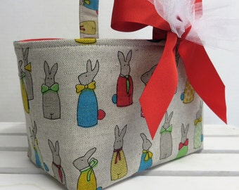 Easter Fabric Candy Bucket Egg Hunt Basket Storage Bin Container - Multi Color Bunnies on Linen - Personalized Name Tag Available