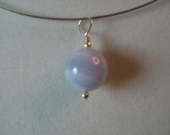 Natural Blue Lace Agate and Sterling Pendnat