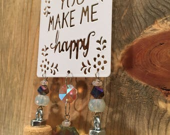 You Make Me Happy Sparkling Iridescent Wine Cork Wind Chime