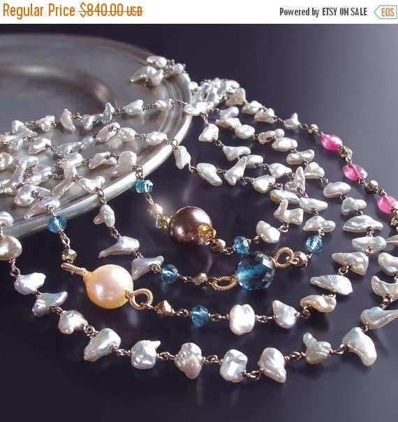 Valentines Day Sale - CUSTOM Made to Order - Long Japanese Saltwater Keishi Pearl Necklace with London Blue Topaz, Hot Pink Sapphire, and Py